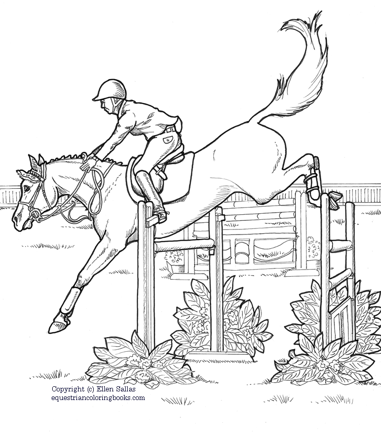 coloring pages horses jumping horse show jumping coloring